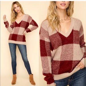 NWT Hem & Thread Plaid V Neck Sweater